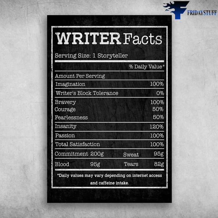 Writeer-Facts-Serving-Size-1-Storyteller-Amount-Serving-Imagination-Writers-Block-Tolerance-Bravery-Courage-Fearlessness-Insanity-Passion-Total-Satisfaction-Commitment-200g-Blood-95g
